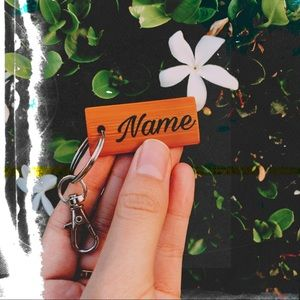 Personalized Engraved Wood Name Keychain
